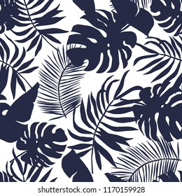Tropical palm leaves silhouette background. Black and white illustration. Vector seamless pattern with tropical plants. Summer paradise nature. Botanical beach print. Jungle foliage