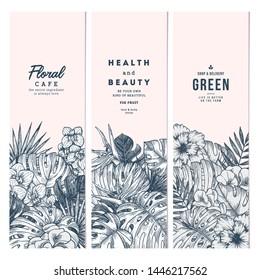 Tropical palm leaves. Vertical banner set. Botanical vintage illustration. Vector illustration