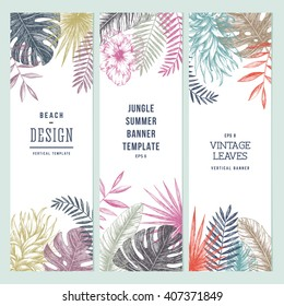 Tropical palm leaves. Vertical banner set. Vector illustration