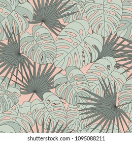 Tropical palm and monstera leaves, seamless pattern on dusty pink background.