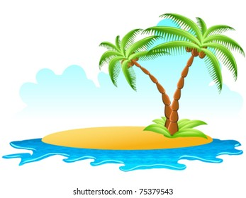 tropical palm on island with sea waves -  vector illustration