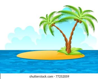 tropical palm on island - vector illustration