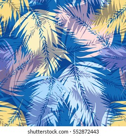 Tropical palm seamless vector leaves coconut pattern. Colorful layering effect exotic plants and leaf on a colorful palm leaves background.