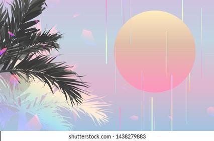 Tropical palm tree, beach background. vintage/ retro futuristic vaporwave minimal background
