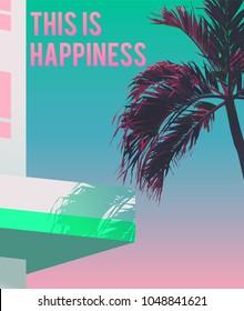 Tropical palm tree, hotel / beach background. vintage/ retro future classic vaporwave minimal background