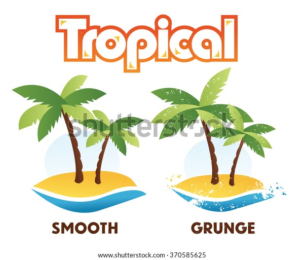 Tropical Palm Tree Island Isolated