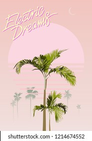 Tropical palm tree minimal nostalgic graphic template design