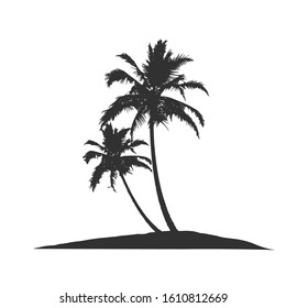 Tropical palm tree silhouette. Stock Vector illustration isolated on white background.
