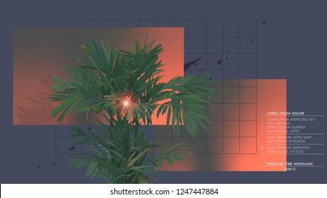 Tropical palm tree vintage retro graphic template design, 80s nostalgic