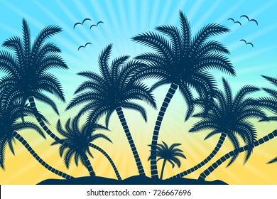 Tropical palm trees with birds, rays and sunset or sunrise in the background.