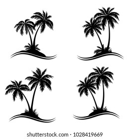 Tropical Palm Trees, Black Silhouettes and Wave Lines Isolated on White Background. Vector