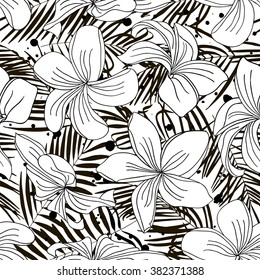 Tropical palm trees and flowers. Abstract background seamless pattern. Black and white