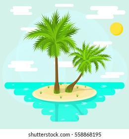 Tropical palm trees. Island in the sea. Summer vacation and relax. Flat style. Sea cruise poster. Icon for a travel company. Vector illustration.