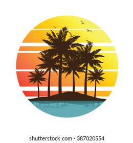 Tropical palm trees island silhouettes with Sunset , vector illustration