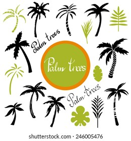 Tropical palm trees and leaves cartoon hand drawn illustrations set isolated on a white background, art logo design