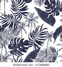Tropical palm trees and leaves silhouette background. Black and white illustration. Vector seamless pattern with tropical plants. Summer paradise nature. Botanical beach print. Jungle foliage