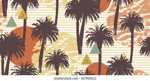 Tropical palm trees seamless background. Exotic pattern