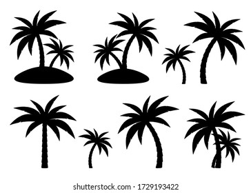 Tropical palm trees set, black silhouettes isolated on white background. Vector.