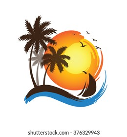 Tropical palm trees silhouettes and sailboat with Sunset , vector illustration