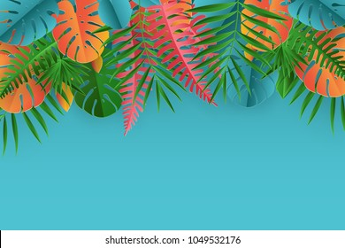 Tropical paper palm, monstera leaves frame. Summer tropical leaf. Origami exotic hawaiian jungle, summertime background