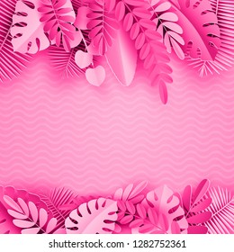 Tropical paper palm, monstera leaves frame. Summer tropical leaf. Origami exotic hawaiian jungle, summertime background. Paper cut style.Pink background