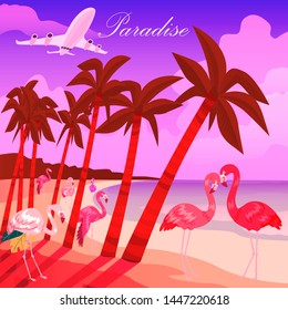 Tropical paradise background. Summer time banner vector illustration. Pink male and female flamingo couple. Exotic Hawaii with tropical birds. Palm trees on beach near ocean.