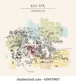Tropical paradise in Gili Air island, West Nusa Tenggara province, Indonesia, Asia. Travel sketch. Hand-drawn vintage book illustration, greeting card, postcard or poster template in vector