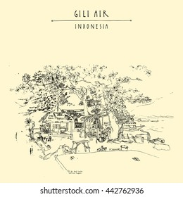 Tropical paradise on Gili Air island, West Nusa Tenggara province, Indonesia, Asia. Travel sketch. Hand-drawn vintage book illustration, greeting card, postcard or poster template in vector