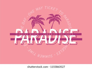 Tropical paradise, palm vector graphic