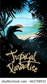 Tropical paradise poster. Vector illustration