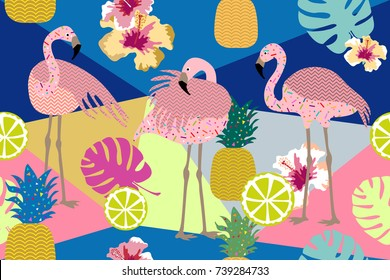 Tropical paradise print. Seamless vector pattern with pink flamingos and golden pineapples. Trendy textile design for shirts, dresses, bags and carpets. Hawaiian collection. On dark background.