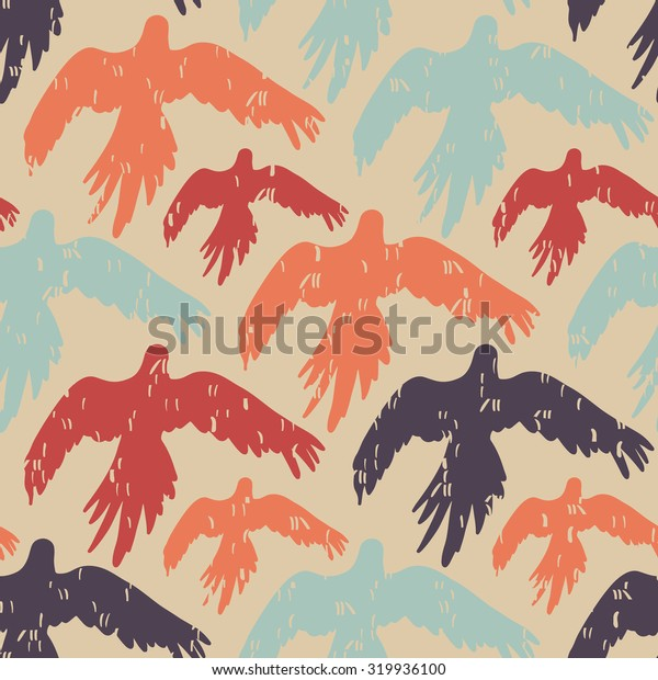 Tropical parrot seamless pattern. Vector illustration