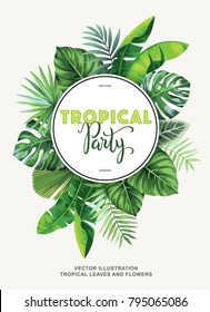 Tropical party invitation with palm leaves. Round frame. Vector illustration.