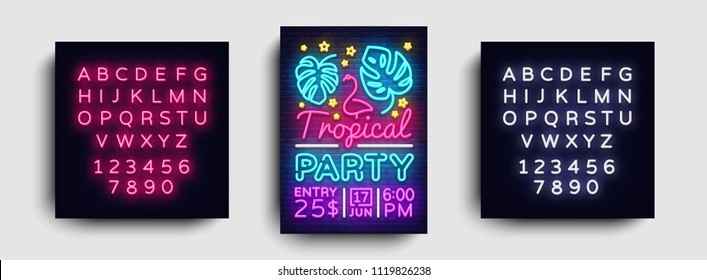 Tropical party poster neon vector. Summer party design template, bright neon brochure, modern trend design, light banner, typography invitation to the party, postcard. Vector. Editing text neon sign