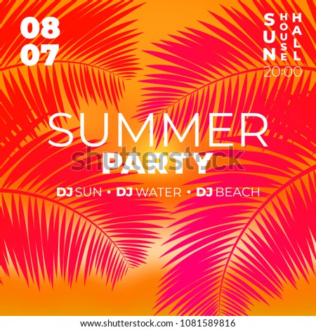 tropical party poster template sunset summer stock vector royalty