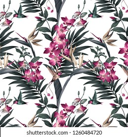 tropical pattern with colibri
