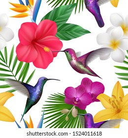 Tropical pattern. Colibri with exotic flowers flying little hummingbirds botanical vector beautiful seamless background