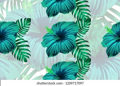 Tropical pattern. Cyan, white, blue exotic summer flower vector background. Beauty fasion monstera, palm leaves and hibiscus flowers. Hawaiian tropic jungle endless print. Natural swimwear design.
