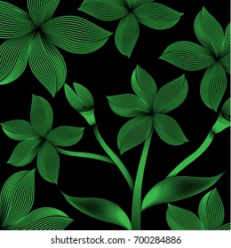tropical pattern foliage with green striped. beautiful striped design