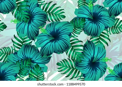 Tropical pattern. Green blue exotic summer flower vector background. Beauty fasion monstera, palm leaves and hibiscus flowers. Hawaiian tropic jungle endless print. Natural swimwear design.