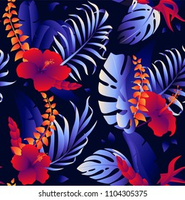 Tropical pattern with jungle plants. Vector illustration