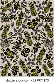 Tropical pattern with leaves and pine apples