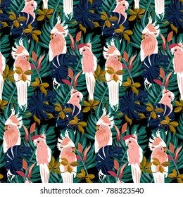 Tropical pattern. Pattern with tropical leaves. Pattern with pink parrots.