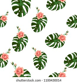 Tropical pattern with monstera and flower. Vintage square watercolor print with green tropic leaves and pink rose flowers. Summer seamless pattern background with floral elements on white backdrop.