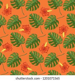 Tropical pattern with monstera leaves and gibiscus flover on a orange color background.Exotic endless texture
