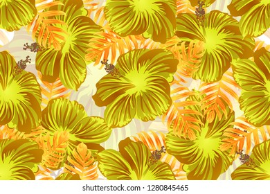 Tropical pattern. Orange green exotic summer flower vector background. Beauty fasion monstera, palm leaves and hibiscus flowers. Hawaiian tropic jungle endless print. Natural swimwear design.