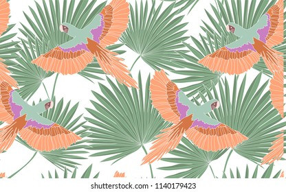 Tropical pattern of palm leaves with exotic orange parrots. Vintage vector botanical illustration. Seamless background, texture, wrapper pattern, frame or border. Digital nature art.