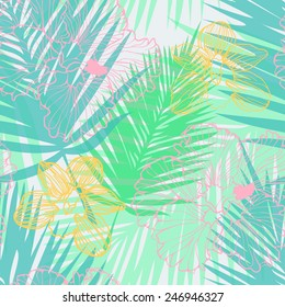 tropical pattern with palm leaves and flowers