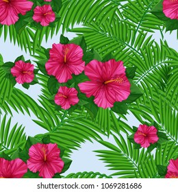 Tropical pattern with palm leaves and pink hibiscus. Seamless vectorial Hawaiian pattern. Exotic background.