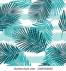 Tropical pattern, palm leaves seamless vector floral background. Exotic plant on stripes print illustration. Summer beach jungle print. Leaves of palm tree on paint lines. ink brush strokes - Vector